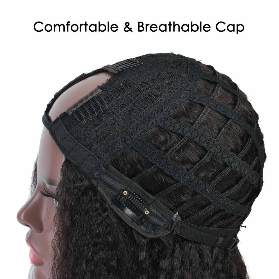 YVONNE Verworrene Gerade U Teil Perücke Menschliches Haar Perücken 100% Brasilianische Reines Haar Perücke Natürliche Farbe