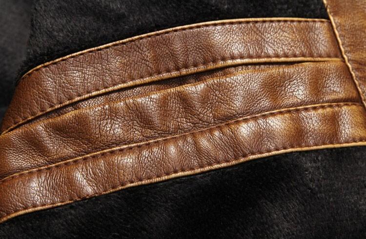 PU Leather Jacket Men 2016 Fall Winter Fashion Faux Fur Bomber Motercycle Biker Jacket High Quality Plus Velvet Casual Outwear (11)