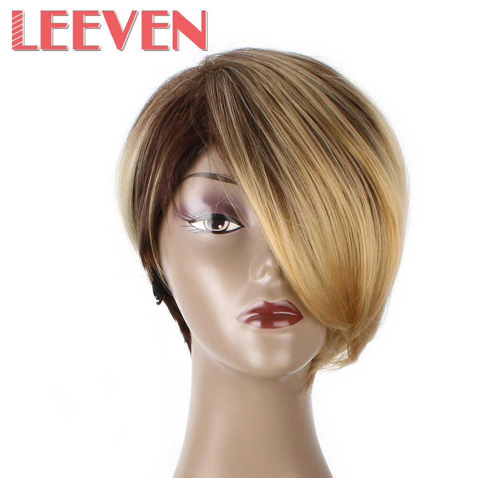 Leeven Yaki Straight Short coaplay Wigs Synthetic Hair for women High Temperature Fiber Afro wig black Ombre Brown
