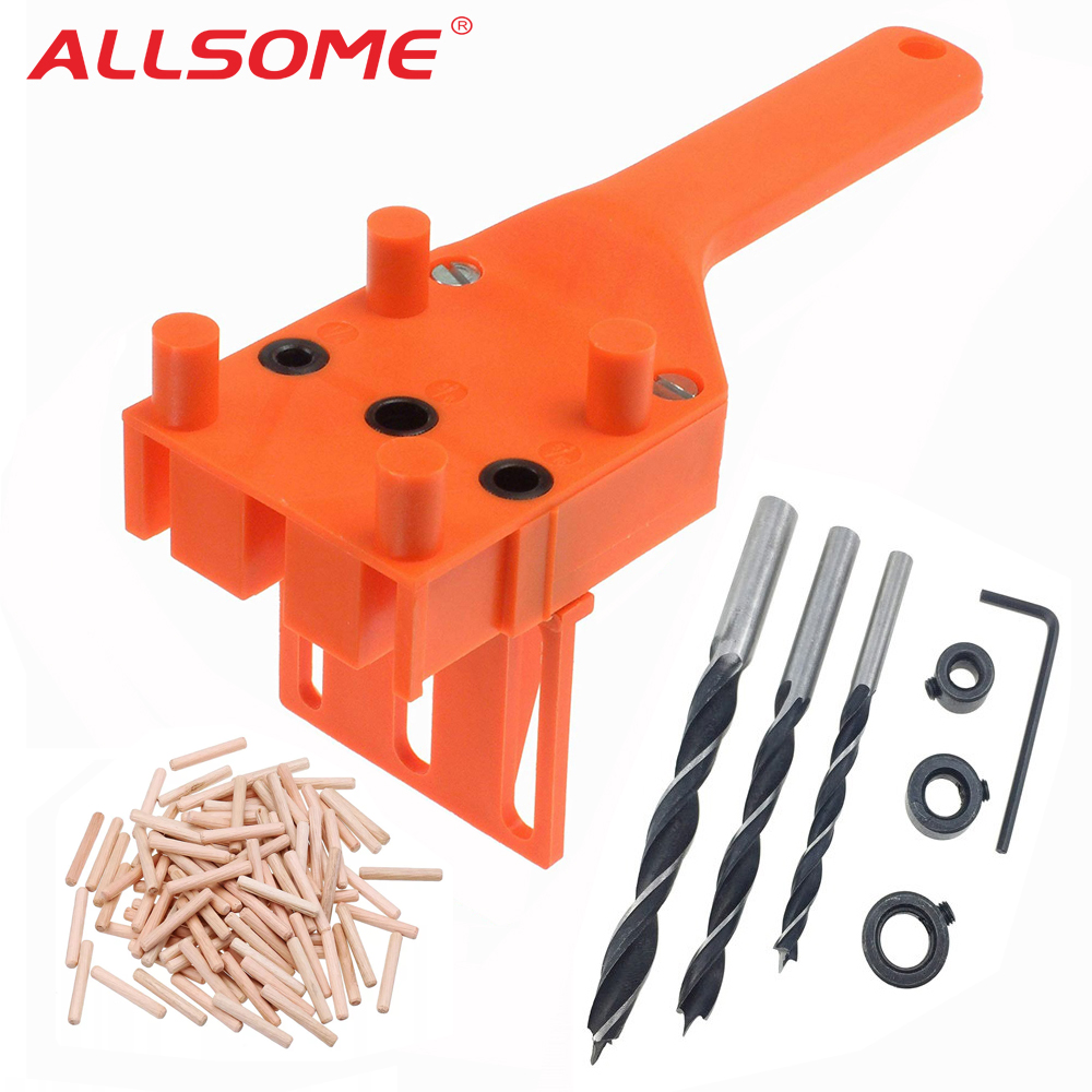 ALLSOME Woodworking Dowel Jig Set Wood Dowel Pins 6 8 10mm Drill Bits Drill Guide Kit For Joinery Doweling Jig Hole Saw Tools