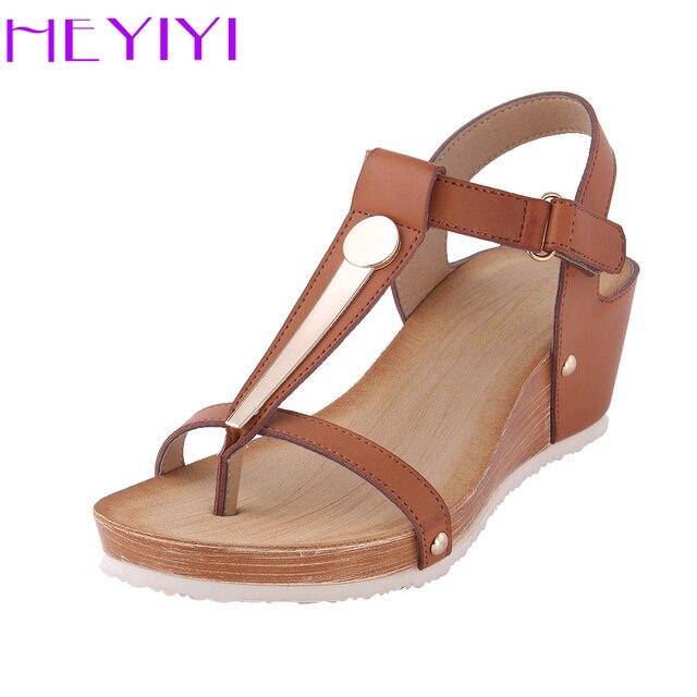 8c08e755258f HEYIYI Women Sandals Platform Wedges Shoes Soft PU Summer Comfort T-strap  Large Size Metal Rivets Lightweight Buckle Strap Shoes