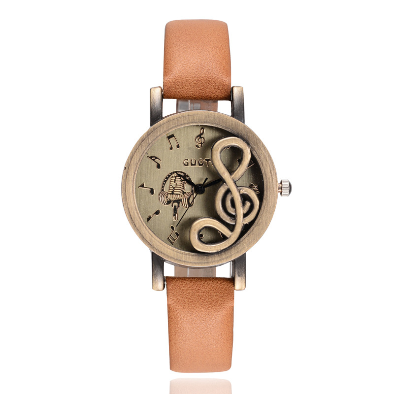Fashion Women Watches Elegant Musical Note Carving Decorate Leather Strap Wristwatch Ladies Casual Quartz Watch For Gift LL@17 fashion leather watches for women analog watches elegant casual major wristwatch clock small dial mini hot sale wholesale