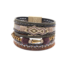 PU Leather Fashion Bracelets & Bangles For Women Pulseira De Couro Feminina Bohemian Multi Rows Seed Beads Charm Rhineston