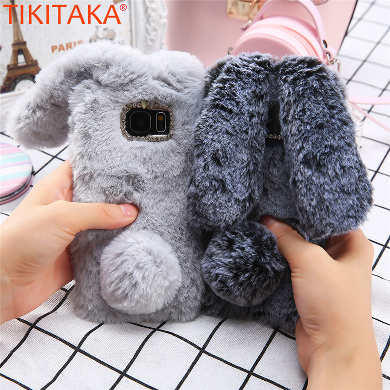 For Samsung S6 Protective Cases Warm Plush Phone Case Jewelled Coque Capa Rabbit Ears Tail Carcasas For Samsung S6 Edge Fashion