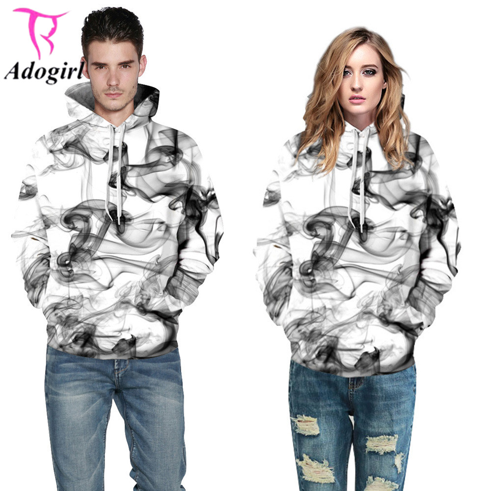 Adogirl Women Men Autumn Winter Black White Smog Hoodies with Hooded Sweatshirt Long Sleeves Tracksuit Casual Baseball Pullover
