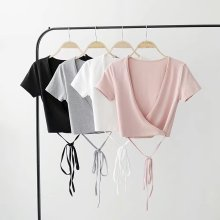 Sexy slim tunic women Crop tops 2019 summer short sleeve Deep V neck Wrap Detail Crisscross Body women  t shirt 2019 New Arrival цена в Москве и Питере