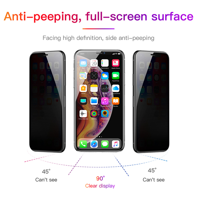 Baseus Privacy Protection Film Screen Protector for iPhone Xs Max Xr X Anti-peep Tempered Glass Protective Cover For iPhone X S 2