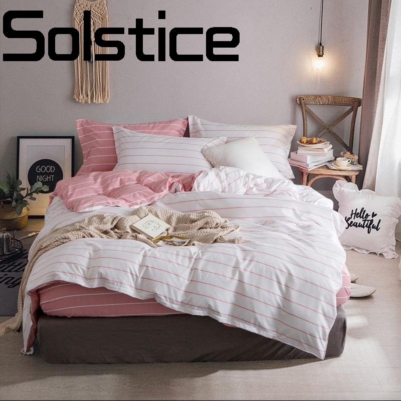Solstice Home Textile Simple and comfortable breathable activity sanding Quilt cover Sheet <font><b>pillowcase</b></font> Bedding 3/4pcs image