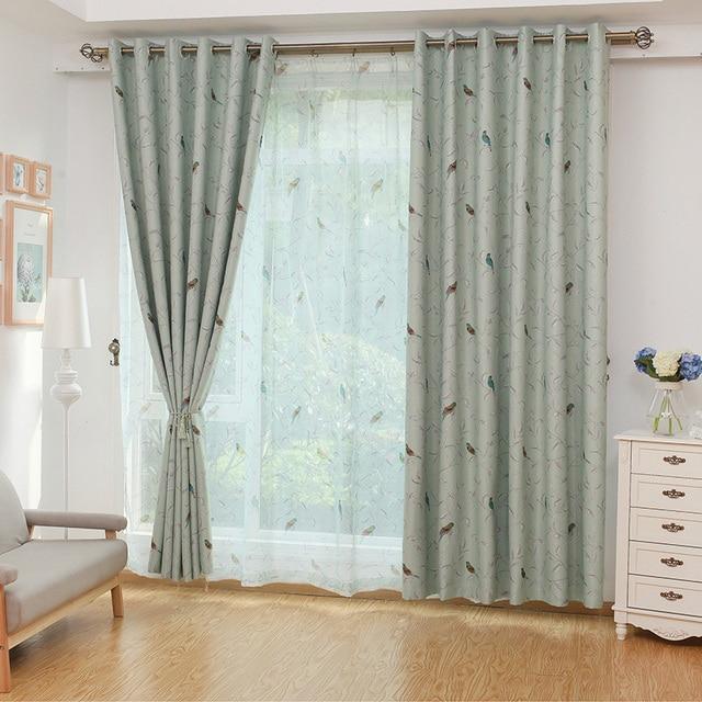 Pastoral Printed Birdie Muster Hohe Shading Fenster Vorhang ...