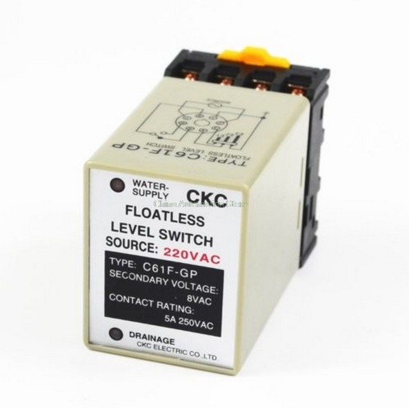 C61F-GP AC 220V 50/60 Hz 8 Pin Liquid Floatless Level Switch Controller With socket Base liquid water level control sensor switch floatless relay 8 pin 220v ac afr 1