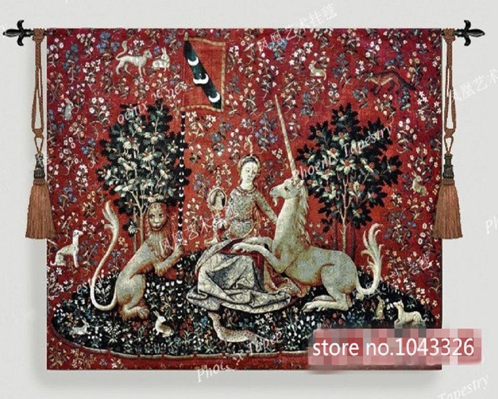 138 103cm Belgium Medieval Home Decoration Textile Ladies And Unicorn Series Vision Jacquard Picture