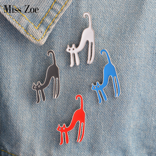 Miss Zoe 4pcs/set Cartoon Stretching Cat Kitten Brooches Button Pins Denim Jacket Pin Badge Colorful Lovely Animal Jewelry Gift