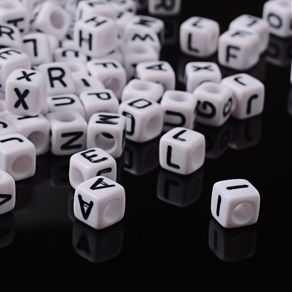 A- Z Alphabet Cube Acrylic Beads 6mm White Letter Beads for Jewelry Making DIY hole: 3.2mm, about 300pcs/50g