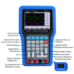 Image 3 - New Handheld Oscilloscope 1/2 Channels 250/500 MSa/s 50/70/80MHz 8bits Oscilloscope JDS3072E Jinhan JDS3082A JDS3051A