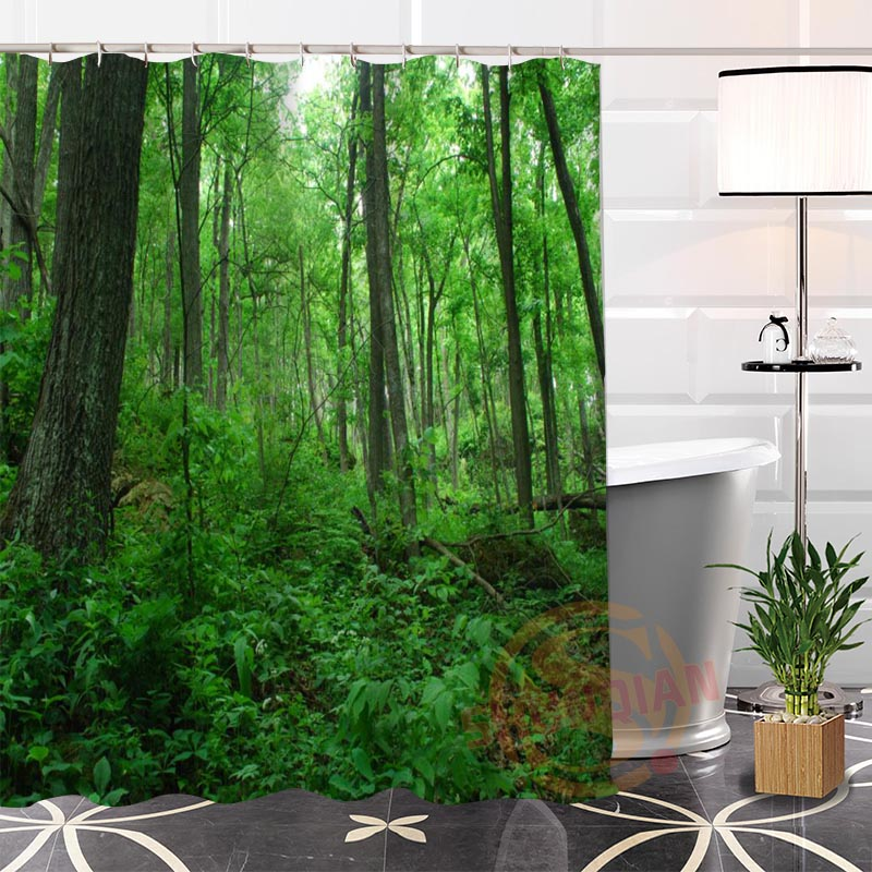 Best Nice Custom Rain Forest Plant Tree Shower Curtain