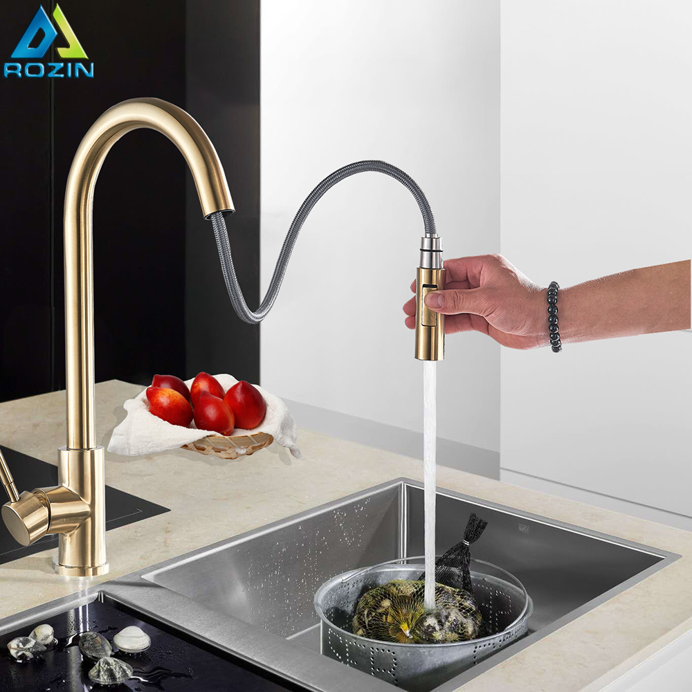 Brushed Golden Kitchen Faucet Sink Mixer Tap Pull Out Swivel Spout Sink Faucet Stream Sprayer Kitchen Hot Cold Water Tap