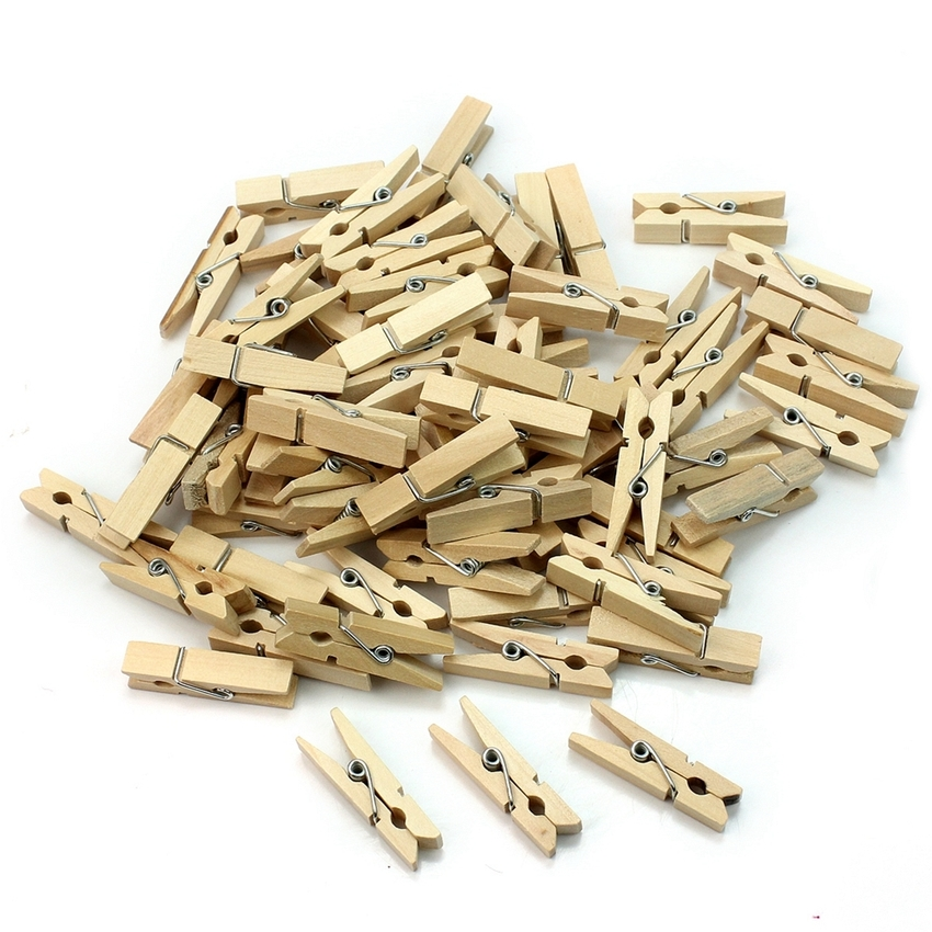 Wholesale Very Small Mine Size 25mm Mini Natural Wooden Clips For Photo Clips Clothespin Craft Decoration Clips Pegs 50pcs