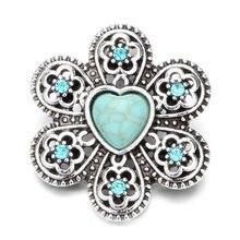 2 Styles Green Kallaite Snap Jewelry Heart Stone 18mm Ginger Snap Button  Rhinestone Flower Snap DIY Snap Bracelets Women 6444a51a36d9
