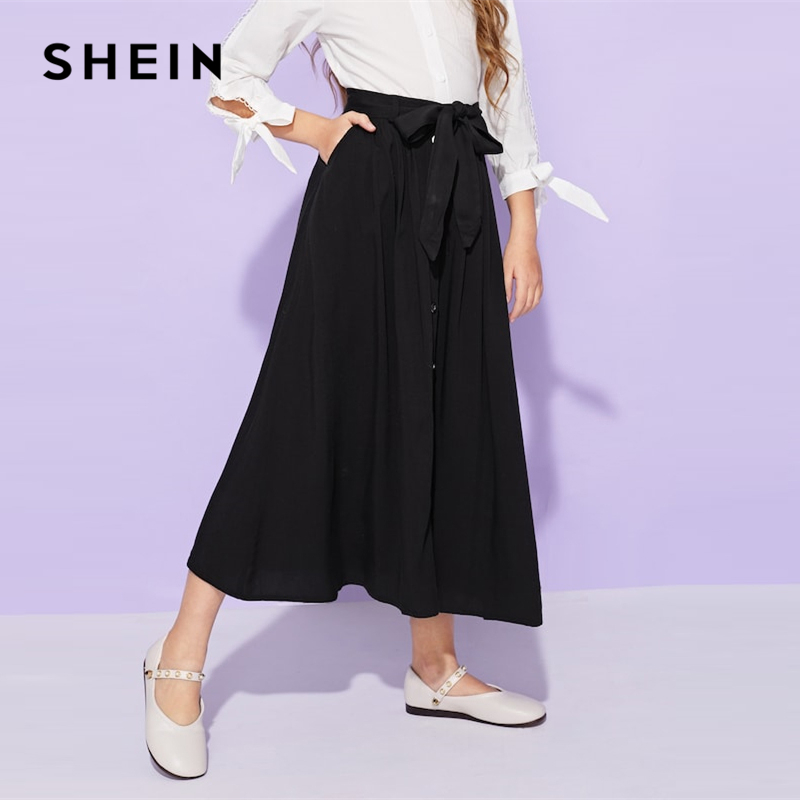 SHEIN Girls Black Solid Button Up Belted Casual Girls Skirts Kids Clothing 2019 Spring Fashion A Line Preppy Long Flared Skirts self belted button up plaid print dress