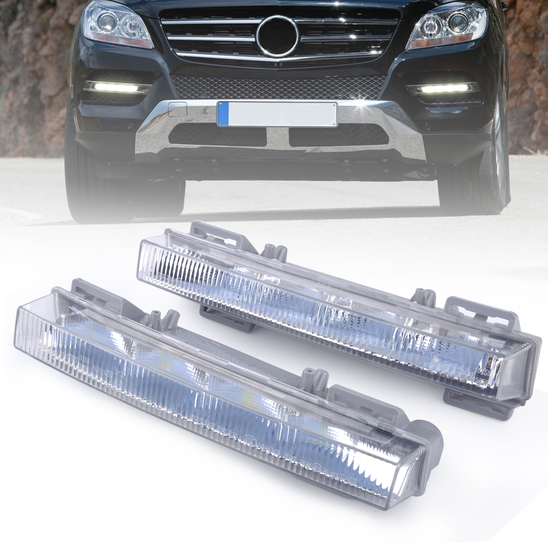 beler 2PCS LED Daytime Running Light Driving Lamp for Mercedes Benz W166 ML350 ML500 X204 GLK350 GLK250 2049065401 2049065501 door mirror turn signal light for mercedes benz w163 ml270 ml230 ml320 ml400 ml350 ml500 ml430 ml55