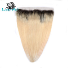 Luasy Dart Roots Peruvian Straight Human Hair 1B 613 Blonde Lace Frontal Closure Ear to Ear Transparent Lace Remy With Baby Hair(China)