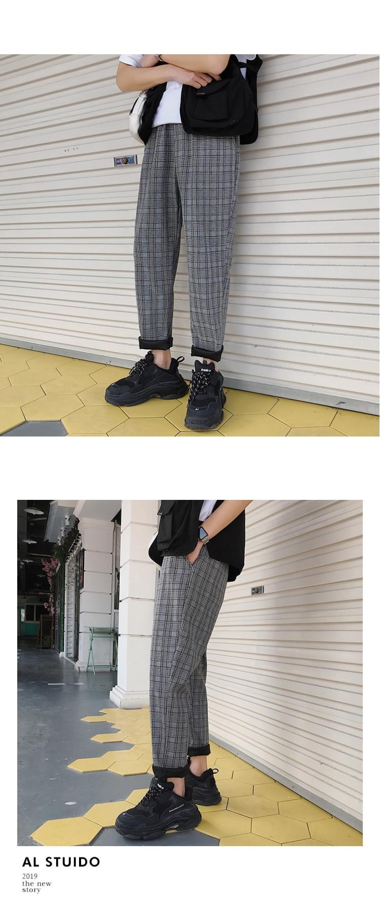 LAPPSTER Streetwear Yellow Plaid Pants Men Joggers 19 Man Casual Straight Harem Pants Men Korean Hip Hop Track Pants Plus Size 20