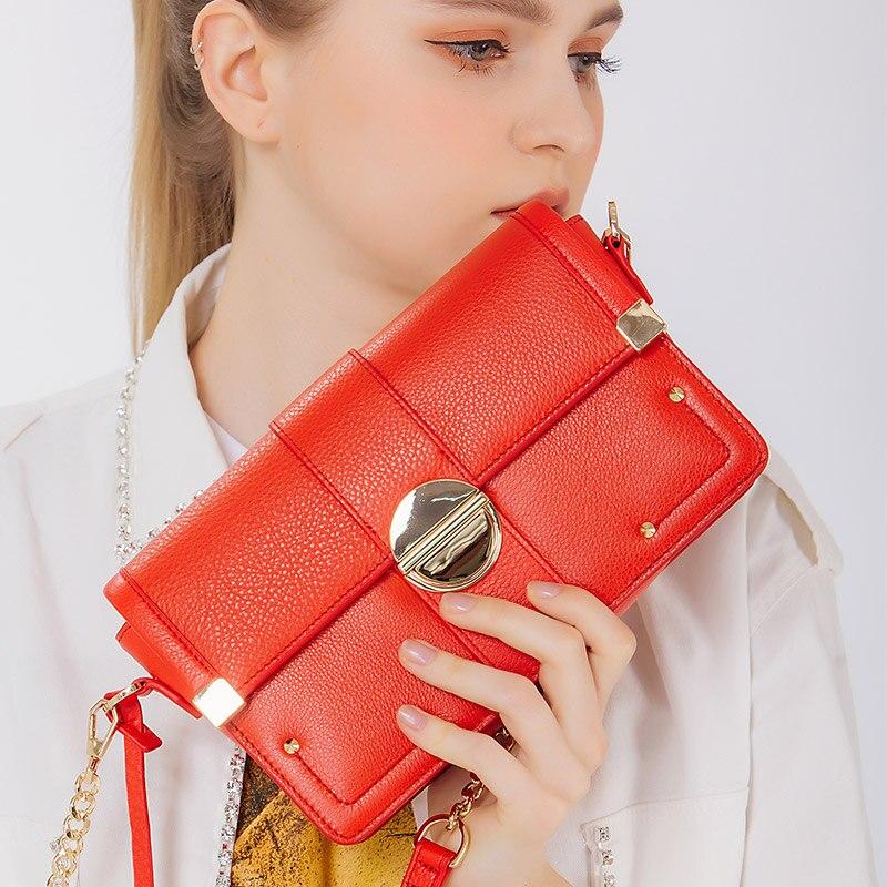 KZNI femmes sacs à main en cuir véritable pour les filles mode sacs à main 2017 sac chaîne messenger sac femmes sac a main femme pochette 1436