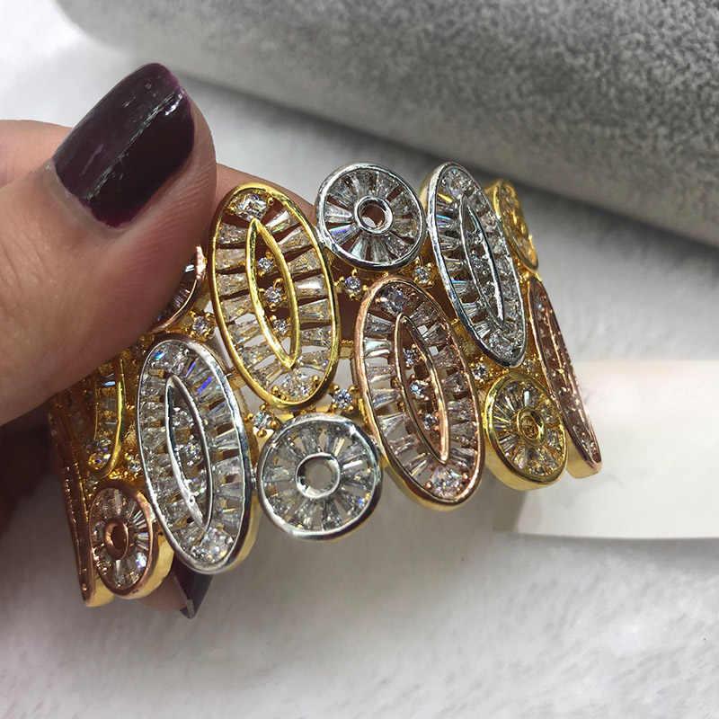 Dazz Роскошные дубайские полые геометрические круглые кольца браслет набор полный циркон 3 цвета Медь Ювелирные изделия для женщин невесты индийский орнамент 2019