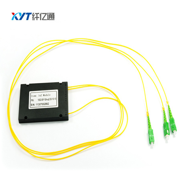 ABS Box Optical Splitter PLC Chassis 1x2 PLC splitter For FTTH Splitters fiber length 1.5m 2.0mm Cable Tube