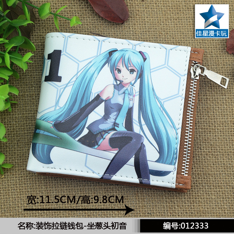 anime Hatsune Miku wallet Short PU Leather Purse Billfold Card Holder zipper men women purse new wooden toys fight inserted blocks snowflake ornament inserted stella wooden blocks gift baby educational toy free shipping