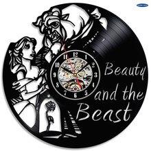 美女と野獣ビニールウォールクロック音楽バンドとミュージシャンテーマ旅行ギフト