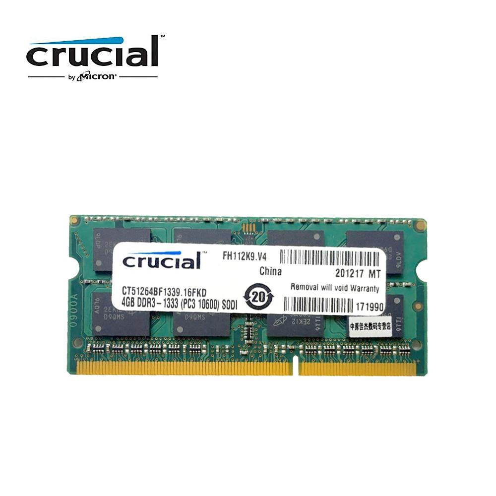 Crucial 4GB DDR3 1333MHz (PC3-10600) 8G=2PCSX4G 1.35V CL9 204-Pin Laptop Memory RAM