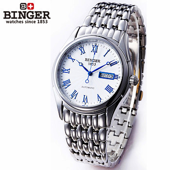 ФОТО Elegant men's solid steel fashion personality auto Binger watch white gold blue dial wristwatches 100% Excellent Quality watches
