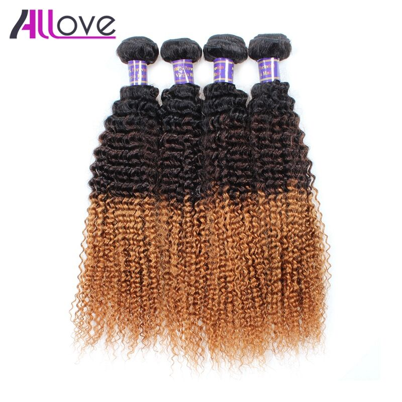 Allove Hair Indian Kinky Curly Bundles Ombre T1B/4/30 Remy Hair 4 Bundles 100% Human Hair Shipping Free 10-28 Inch No Shedding