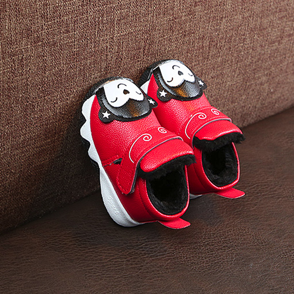 MUQGEW Sneaker Shoes Hook First-Walker Girl Baby Boys Fashion Warm Loop Flock Cartoon