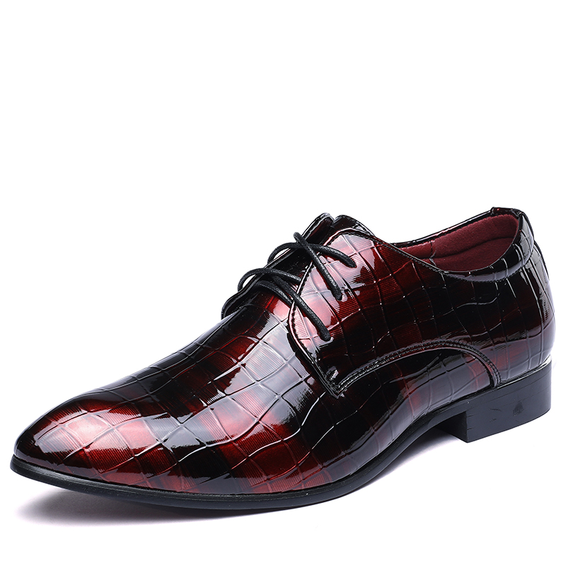 Men Dress Shoes Shadow Patent Leather Luxury Fashion Groom Wedding Shoes Men Oxford shoes 37-48