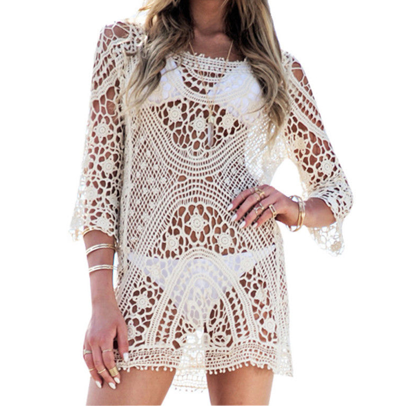 Beach Tunic Swimwear Pareo loose Dress Lace Crochet Swimsuit Cover Up Sarong Beachwear Women Bikini Cover-Up