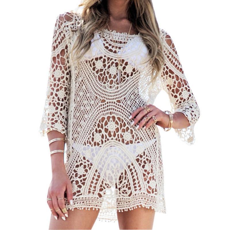 Beach Tunic Swimwear Pareo loose Dress Lace Crochet Swimsuit Cover Up Sarong Beachwear Women Bikini Cover-Up