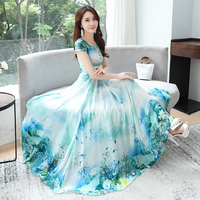 Office Lady Summer Dress Big Swing Vestidos Women Short Sleeve Floral Print Long Chiffon Dresses Blue,Pink Casual Clothing