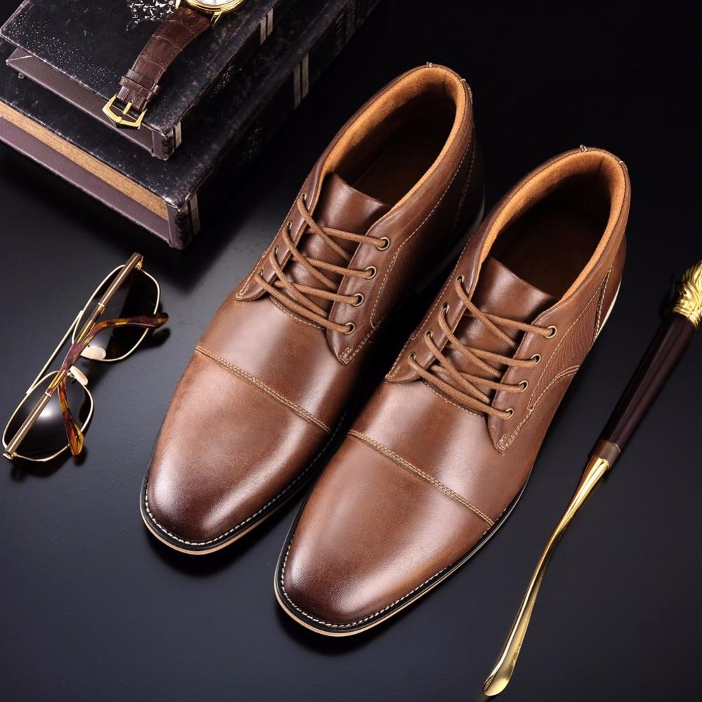 DESAI 2019 nueva llegada botas calientes de invierno Zapatos altos zapatos de cuero genuino de los hombres botas altas casuales para el tamaño Masculino 39 47-in Botas básicas from zapatos    3