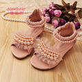 New Summer Kids Girls Soft Leather Ankle-Wrap Sandals Children Princess Sandal Pink White Pearl Square Heel Girl Dress Shoes