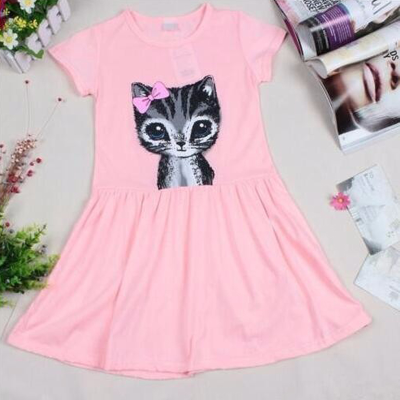 B&N Hot Sale Summer Cute Girl dresses Cat Print Fashion Baby Girl Dress Grey Pink Cotton Children Clothing3