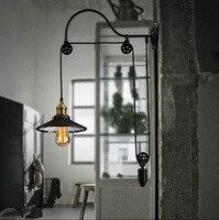 Edison старинные настенные светильники меди, железа шкив Шестерни подъема промышленного бра Длина регулируемый внутренний зеркало бра настен
