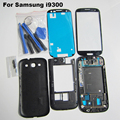 Blanco/azul/rojo/negro piezas de recambio originales de caso completo de vivienda cubierta para samsung galaxy s3 gt-i9300 + outer glass + herramientas kits