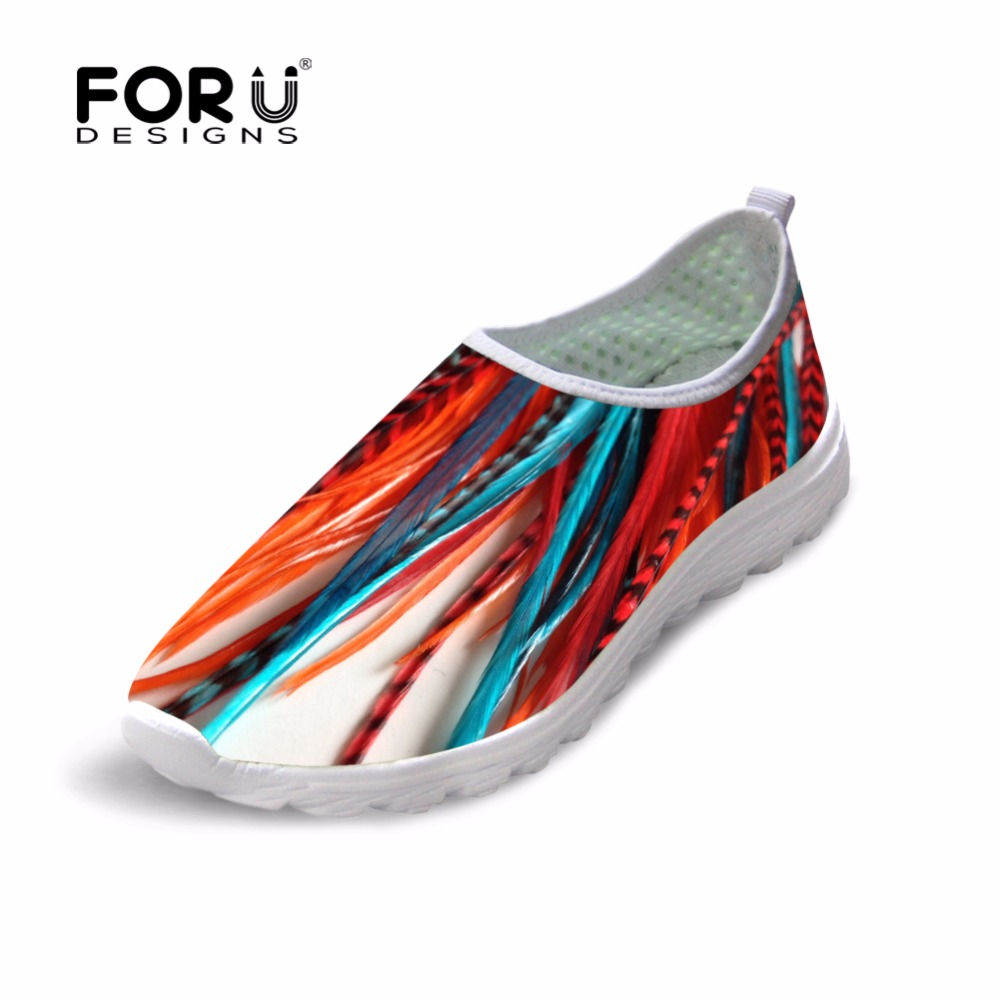 FORUDESIGNS 2018 Women Casual Mesh Shoes 3D Colorful Feather Printing Women Flats Loafers Lady Breathable Summer Shoes Zapatos forudesigns fashion candy color women casual flats shoes summer breathable mesh shoes for ladies leisure loafers female shoes
