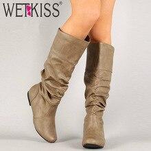 WETKISS/ботинки до середины икры размера плюс 34-48 женские ботинки со складками на каблуке Женская обувь с круглым носком обувь на плоской подошве осень-зима г