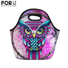 FORUDESIGNS Colorful Animal Print Lunch Bag for Kids Portable Food Women Girl Boy Owl Wolf Thermal Insullate Tote Lunchbag