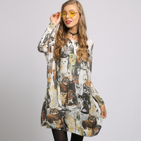 XIKOI sweater dress Oversize Long Batwing Sleeve Pullovers O Neck Knitted Fashion Casual Cute cat cartoon Print Clothes
