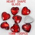 Pedras de vidro 100 pcs da Forma Do Coração de 10mm Cor Vermelha Contas de Cristal Para Telefone Celular Caso Diy Fazer Jóias Sucata Reserva
