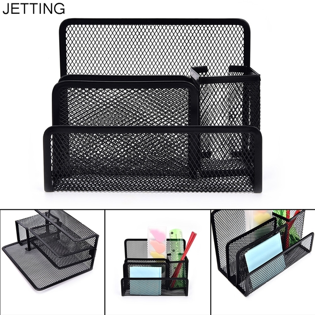 multi functional pen holder stationery file paper organiser storage collection office school supplies metal mesh